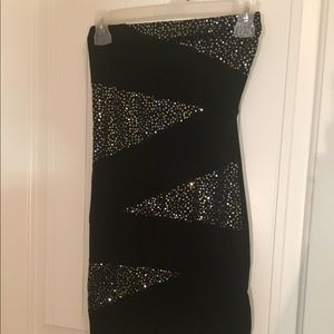 Black mini tube dress with sequins